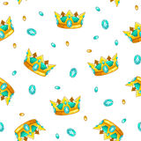 Seamless pattern with cartoon golden king crowns Stock Images