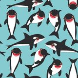 Seamless pattern Cartoon grampus orca, killer whale, sea wolf Kawaii with pink cheeks and positive smiling on blue sea ocean backg. Round. Vector illustration Stock Images