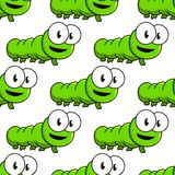 Seamless pattern of cartoon green caterpillars Royalty Free Stock Photo
