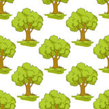 Seamless pattern with cartoon green trees Stock Images