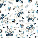 Seamless pattern with cartoon hippo Royalty Free Stock Image