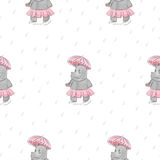 Seamless pattern with cartoon Hippo with umbrella royalty free illustration