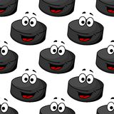 Seamless pattern of a cartoon hockey puck Royalty Free Stock Images