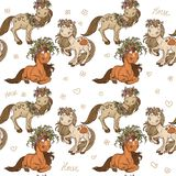 Seamless pattern with cartoon horses Royalty Free Stock Photography