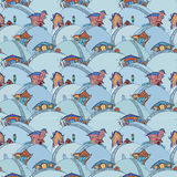 Seamless pattern with cartoon houses Stock Image
