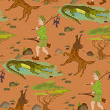 Seamless pattern with cartoon hunters, wolfs and alligators. Humor vector illustration stock illustration