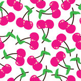 Seamless pattern  cartoon illustration of cherries fruit suitable for kid fabric background design Stock Image