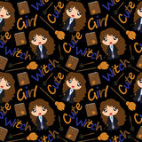 Seamless pattern  cartoon illustration of cute witch  Stock Photos