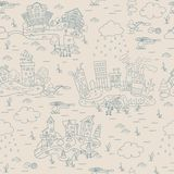 Seamless pattern with cartoon island town. Royalty Free Stock Photos