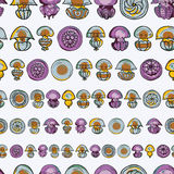 Seamless pattern with cartoon jellyfish Stock Images