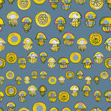 Seamless pattern with cartoon jellyfish Royalty Free Stock Images
