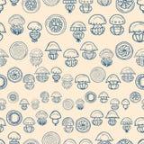 Seamless pattern with cartoon jellyfish Royalty Free Stock Photo