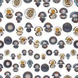 Seamless pattern with cartoon jellyfish Stock Image