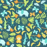 Seamless pattern with cartoon jungle animals Royalty Free Stock Images