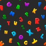 Seamless pattern cartoon kids alphabet bubble. Letters on black background royalty free illustration