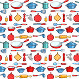 Seamless pattern cartoon kitchen ware Royalty Free Stock Photo