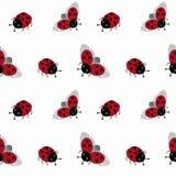Seamless pattern with cartoon ladybugs on a white background. Seamless pattern with cute cartoon ladybugs on a white background stock illustration