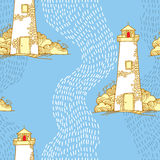 Seamless pattern with cartoon lighthouses Royalty Free Stock Photo