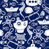 Seamless  pattern with cartoon marine elements. Nautical backgro Royalty Free Stock Photo