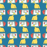Seamless pattern A Cartoon men with a TV instead of a head. Brainwashing. Stock Image