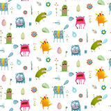 Seamless pattern cartoon monster background for children Stock Photography