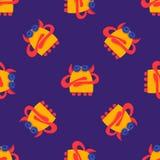 Seamless pattern cartoon monsters. Fabric texture. Abstract  illustration. Hand drawn doodle  illustration. Comic stock illustration