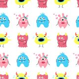 Seamless pattern with cartoon monsters. stock illustration