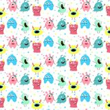 Seamless pattern with cartoon monsters royalty free illustration