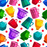 Seamless pattern with cartoon mugs. Illustration with cooking ut Stock Images
