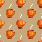 Seamless pattern with cartoon mugs-9 Royalty Free Stock Photo