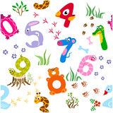 Seamless pattern of cartoon numbers Stock Images
