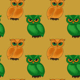 Seamless pattern with cartoon owls Stock Photo