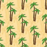 Seamless pattern with cartoon palms on beach. Vector summer print for textile design and other design decoration Stock Photography