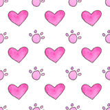 Seamless pattern with cartoon paws and hearts. Hand-drawn background. Vector illustration. Stock Photos