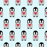 Seamless Pattern with Cartoon Penguin and Heart Design on Blue Background royalty free illustration