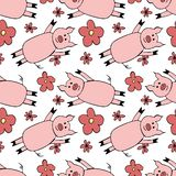 Seamless pattern with cartoon pig and flowers. illustration of symbol New year 2019. royalty free illustration
