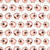 Watercolor seamless pattern with cartoon pigs on paper background. Seamless pattern with cartoon pigs isolated on beige paper texture background. Watercolor hand royalty free stock photography