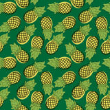 Seamless pattern of cartoon pineapple. Drawn fruit on a green ba Stock Photography
