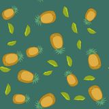 Seamless pattern with cartoon pineapples. Fruits repeating background. Endless print texture. Fabric design. Wallpaper Stock Photography