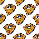 Seamless pattern with cartoon pizza slices Royalty Free Stock Images
