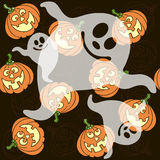 Seamless pattern with  cartoon pumpkins and ghosts Stock Image