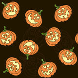 Seamless pattern with  cartoon pumpkins for Halloween Royalty Free Stock Photography