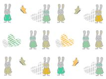 Seamless pattern with cartoon rabbits, hearts and butterflies. Bunny vector illustration. stock illustration