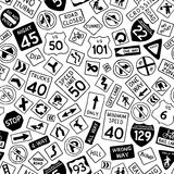 Seamless pattern of cartoon road signs in the United States. Stock Image
