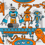 Seamless pattern cartoon robots on the assembly Royalty Free Stock Image