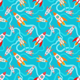 Seamless pattern with the cartoon rockets Stock Images