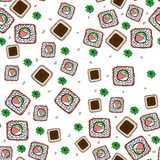 Seamless pattern with cartoon rolls, wasabi and soy sauce. stock illustration