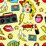 Seamless pattern in cartoon 80s-90s comic style.