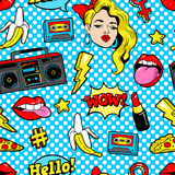 Seamless pattern in cartoon 80s-90s comic style. Seamless pattern with fashion patch badges with woman, lips, tape recorder, speech bubbles and other elements Royalty Free Stock Image