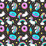 Seamless pattern in cartoon 80s-90s comic style. Royalty Free Stock Image